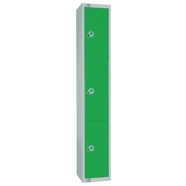 450mm Deep Locker 3 Door Padlock Green with Sloping Top (Direct)-0