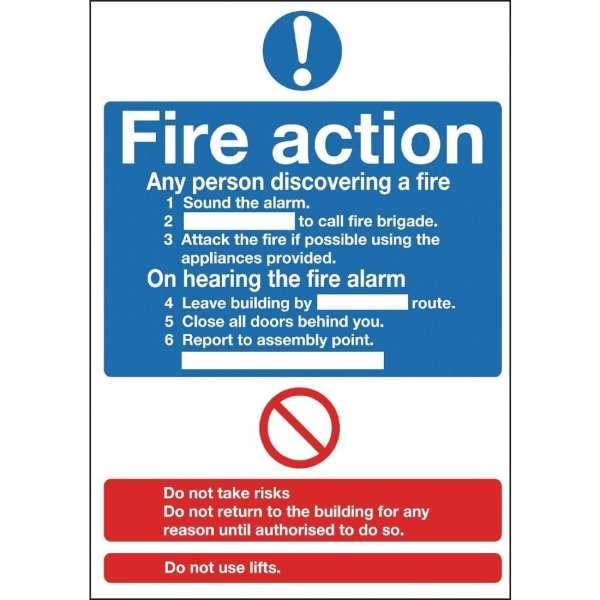 Fire Action - 300x200mm (Self-Adhesive)-0