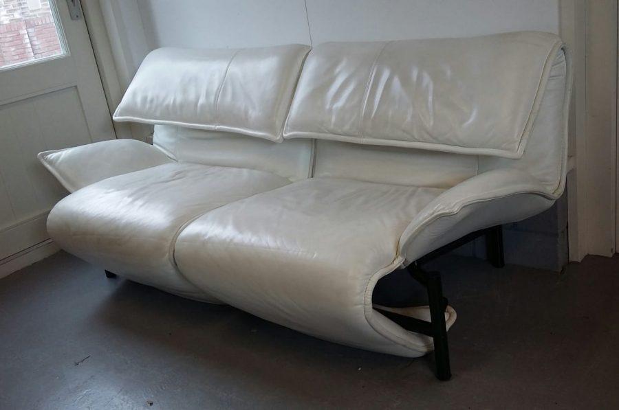 Leren Bank Wit.Wit Lederen Bank Vico Magistretti Loos Vintage Furniture