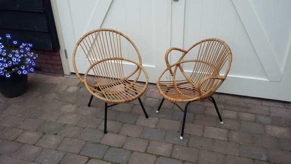 Rotan fauteuils, twee stuks