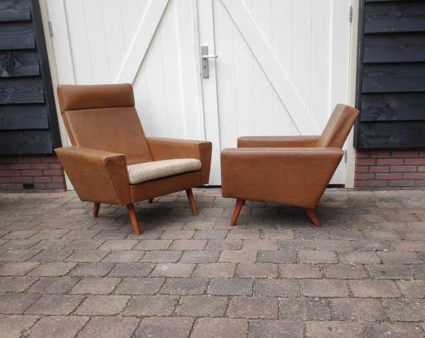 Bruin skai leren fauteuils Jaren 50