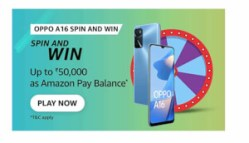 Amazon Oppo A16 SPIN AND WIN