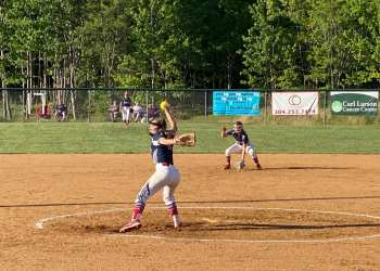 Independence's Delaney Buckland winds up for a pitch during Thursday's regular season finale against St. Albans.