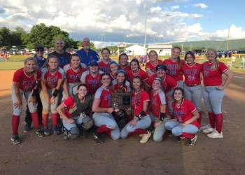 The Lady Patriots celebrate after winning the Class A Region 3 championship Tuesday in Lindside. (Submitted Photo: Amy Stonestreet)