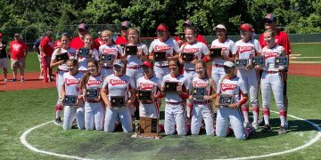 Cabell Midland poses with the championship trophy after beating  St. Albans 3-0 Wednesday afternoon in South Charleston.