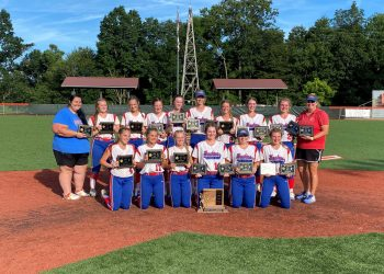 Herbert Hoover poses with the championship plaque after beating Oak Glen 6-5 in extra innings Wednesday at Little Creek Park in South Charleston