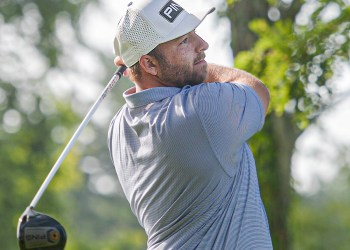 Davey Jude tees off on day 1 of the Mountain State Golf Classic on Saturday at Grandview. Country Club (F. Brian Ferguson/Lootpress)