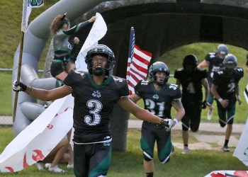(Brad Davis/For LootPress) Wyoming East takes the field for its annual battle with cross-county rival Westside Friday night in New Richmond.