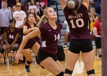 Beckley's Olivia Ziolkowski goes up for a spike during a match against Independence on Tuesday. (Heather Belcher/Lootpress)
