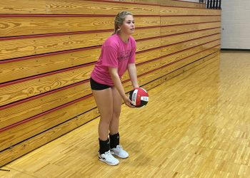 PikeView senior Anyah Brown prepares to serve prior to practice on Wednesday.