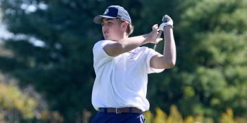 (Brad Davis/For LootPress) Shady Spring's Tanner Vest tees off on no. 9 during the Class AA, Region 3 Tournament at Grandview.