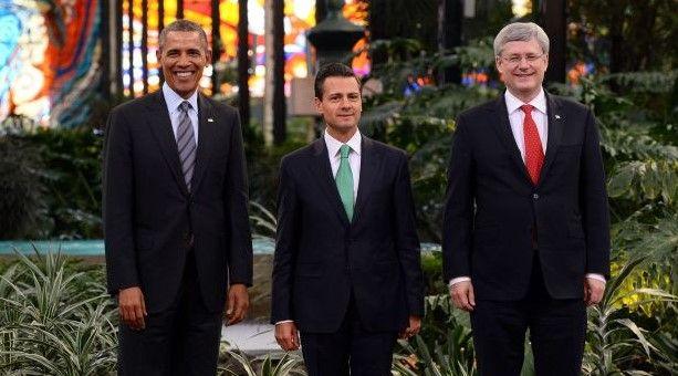 Obama, Peña Nieto y Harper durante reunión en Toluca