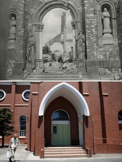 La catedral de Urakami tras la caída de la bomba atómica en Nagasaki. Abajo, el mismo lugar en la actualidad. Foto de Reuters