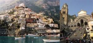 Vista panorámica de Amalfi y su catedral Bizantino y Románico