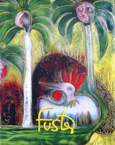 """Gallos y palmas reales. Acrílico de Fuster y  tapa del libro de arte """"Fuster"""", prologado por Marta Rojas"""