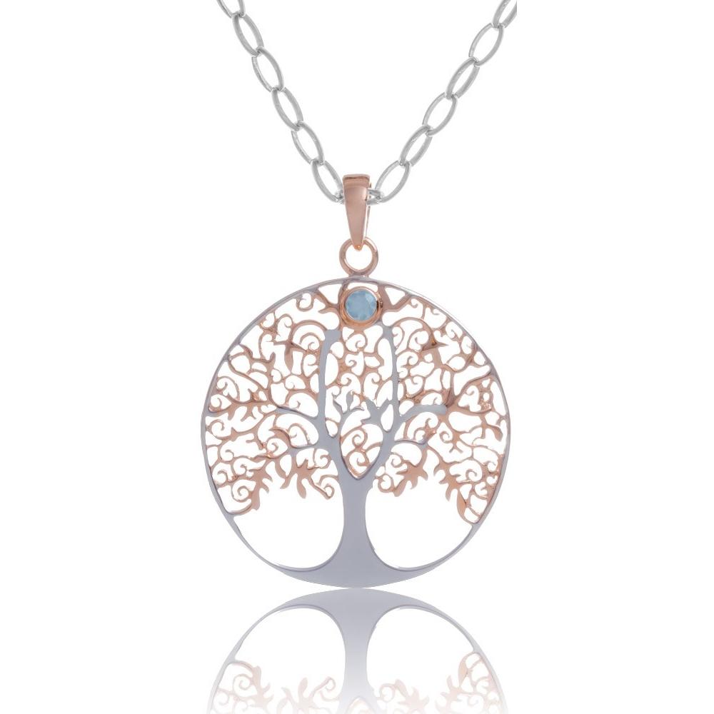 Anhnger Lebensbaum in Silber rose vergoldet mit Blautopas Stein