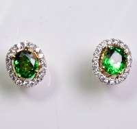 Tsavorite Green Garnet and diamond halo earrings E1406