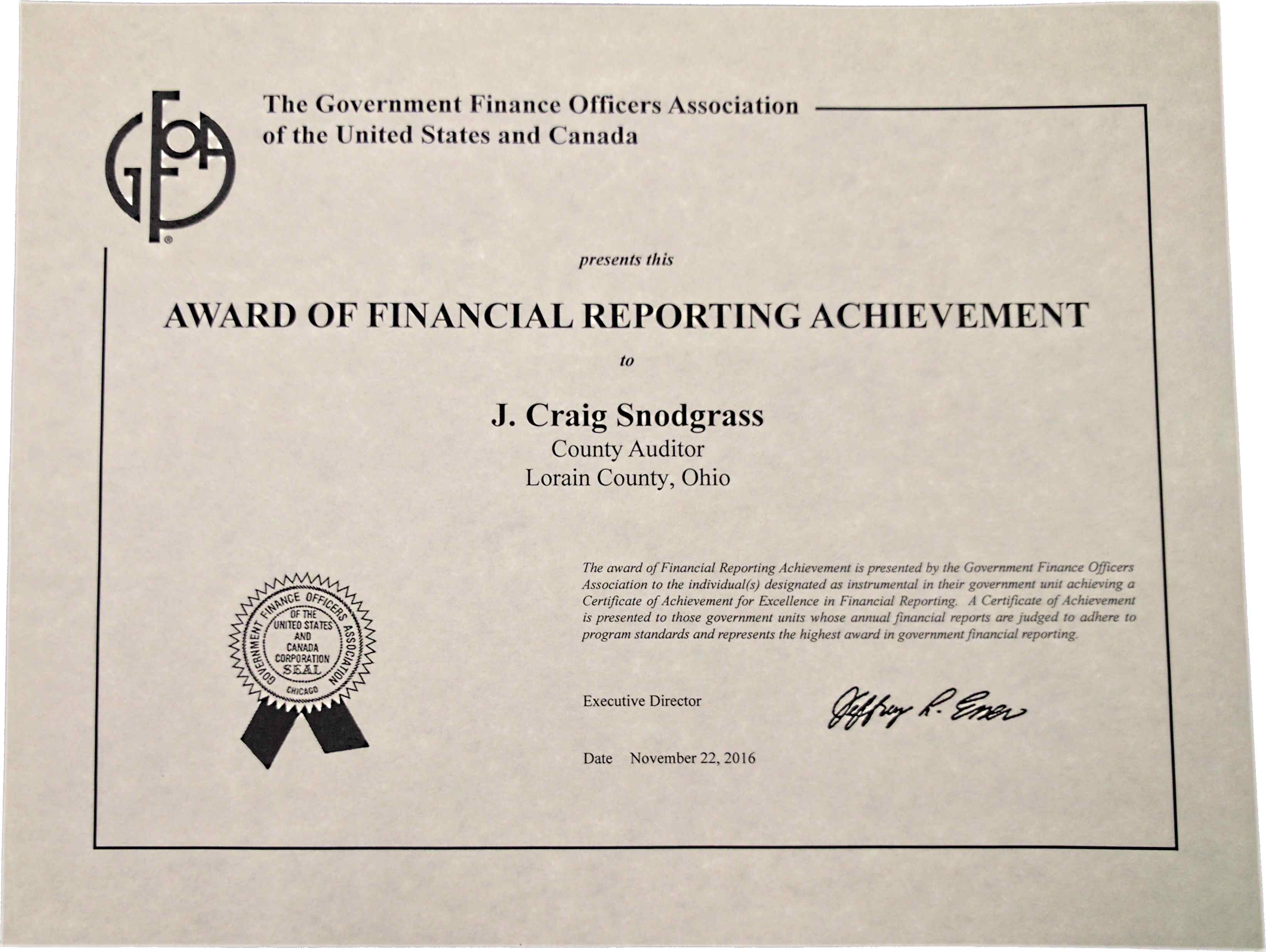 Award For Excellence In Financial Reporting