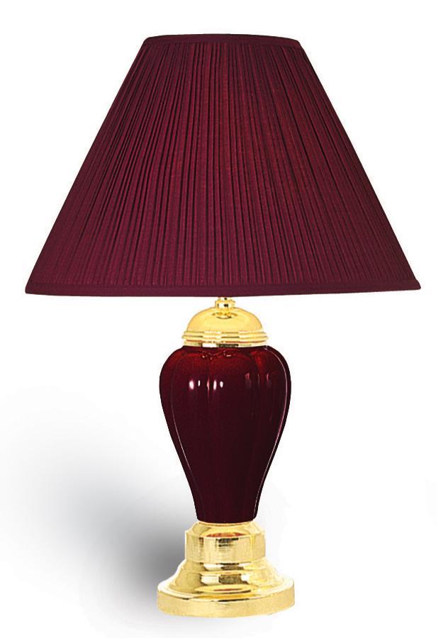 OK 4101BDA 24H Ceramic Table Lamp In Burgundy