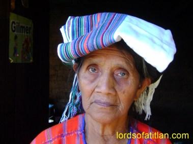 Woman with servilleta on head in ,San Marcos la Laguna, Barrio 1