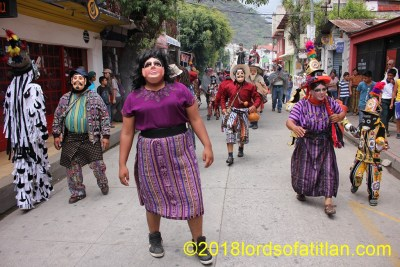 Dressed as a woman for the Dance of the negritos, Corpus Cristi (Body of Christ) Panajachel, but Trinidad and the others are men.