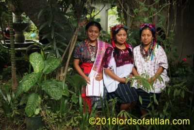 The cultural diversity of Guatemala is immense, To illustrate, in this photograph three young women represent three idioms:: achi, k'iche', and kaqchiquel.