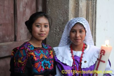 An ex-queen of San Lucas Sacatepéquez with her sister in the election of the Princess of the Four Cardinal Points in Antigua Guatemala.