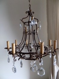 Antique French massive hand forged wrought iron chandelier ...