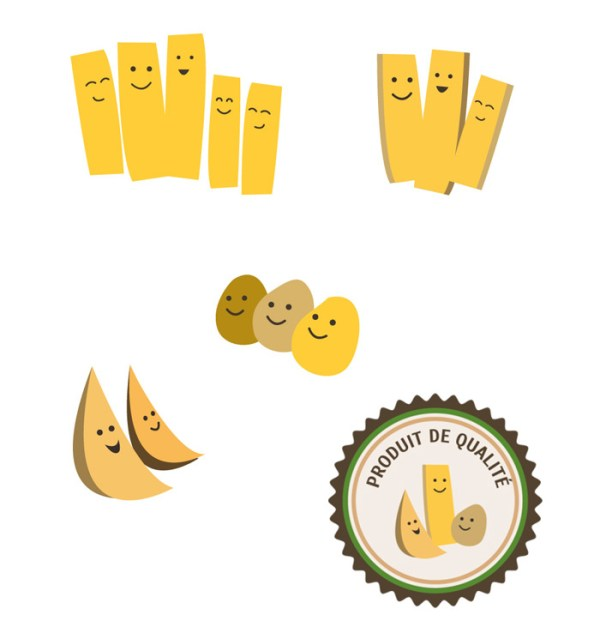 illustrations pictogrammes pour packaging petites frites