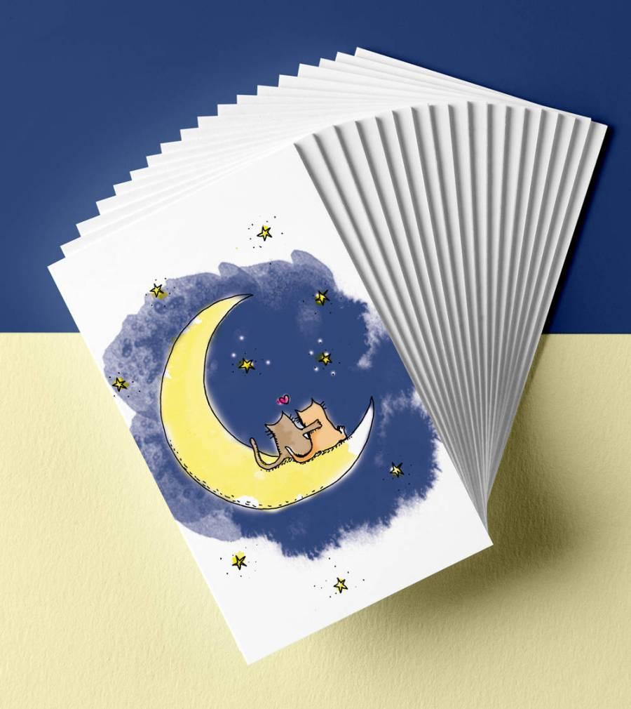 carte postale illustrée chats sur la lune