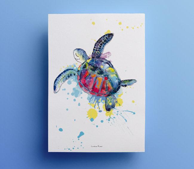 affiche deco enfant tortue marine