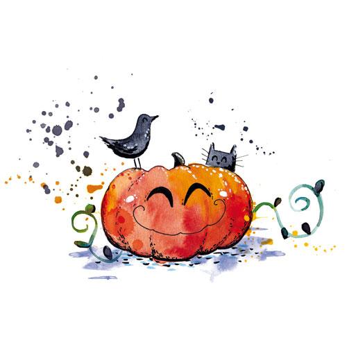 illustration aquarelle citrouille