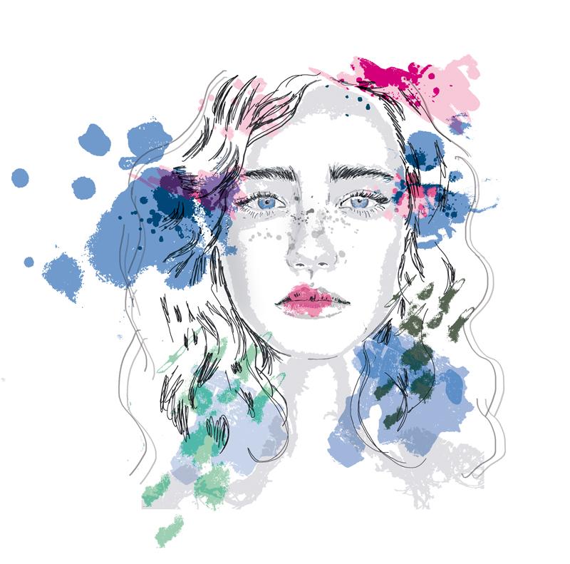 portrait dessiné femme illustration mode digitale