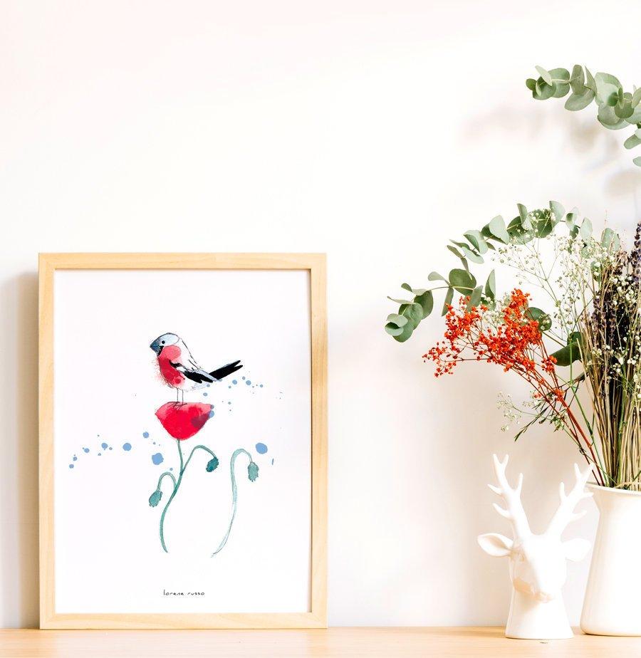 affiche bouvreuil pivoine oiseau aquarelle