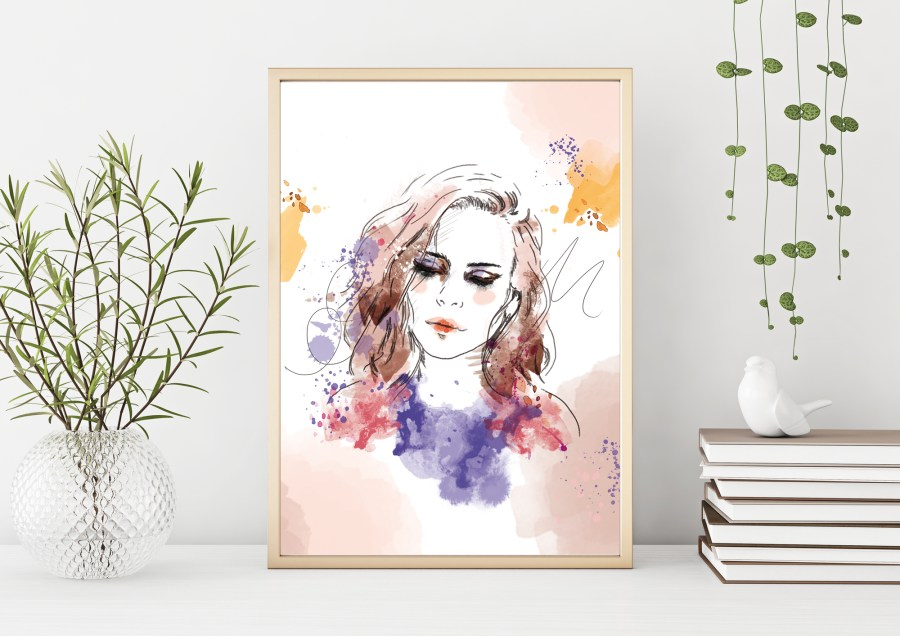 reproduction portrait de femme graphique à l'aquarelle