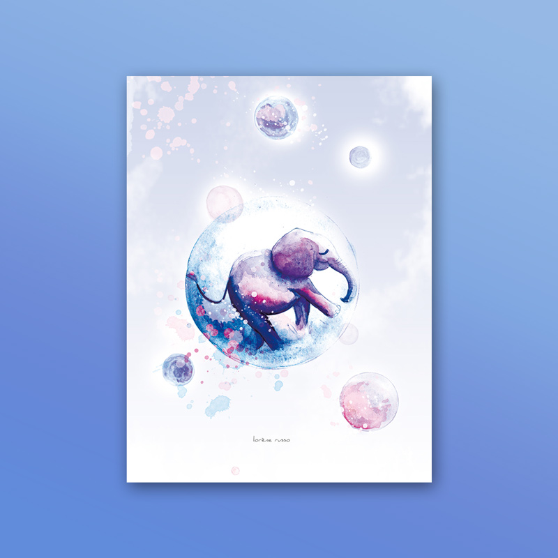Affiche elephant dans une bulle, reproduction