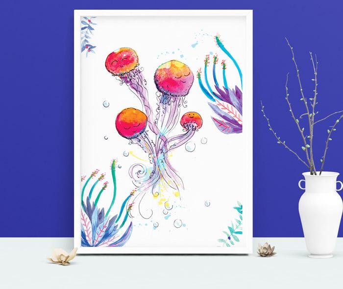 Affiche meduse - reproduction