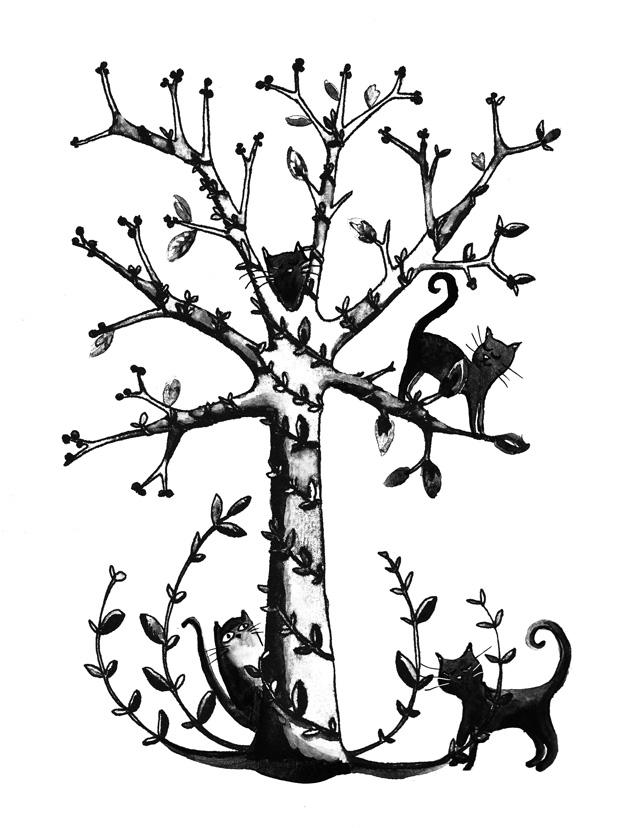 illustration arbre a chats noir et blanc