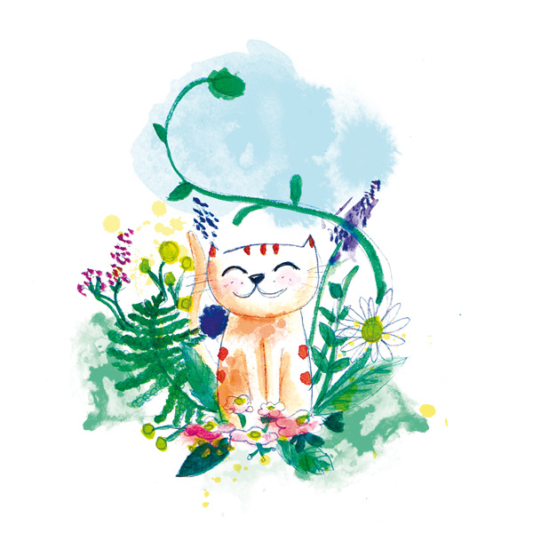 illustration bucolique et florale aquarelle chat