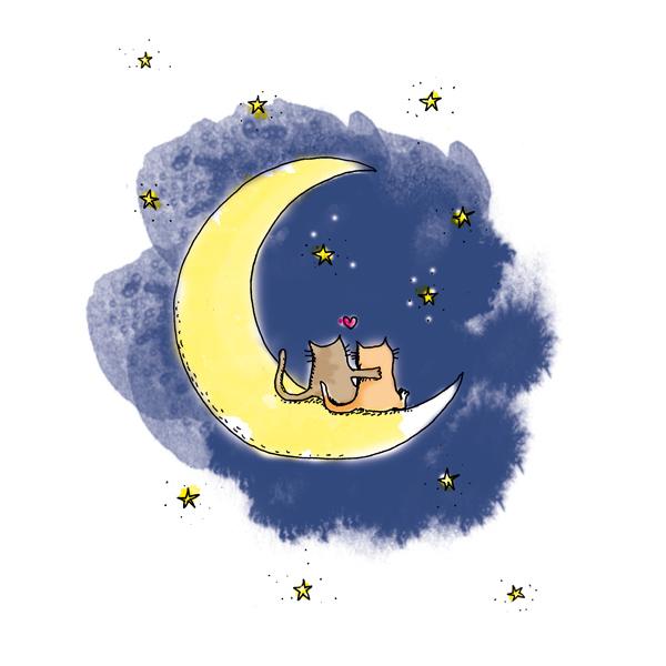 illustration saint valentin chats sur la lune