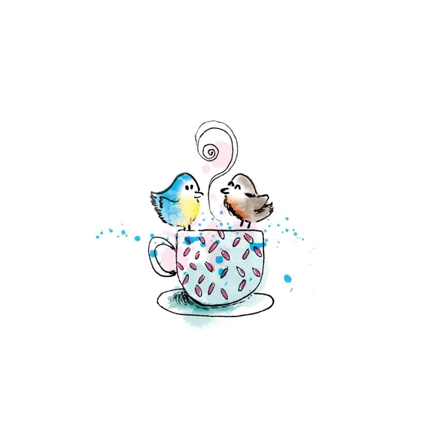 dessin style bd petits oiseaux sur une tasse