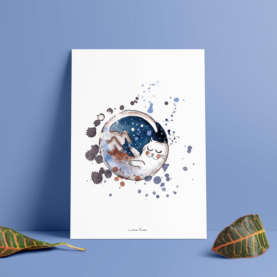 affiche artisanale dessin aquarelle et encre chat lune