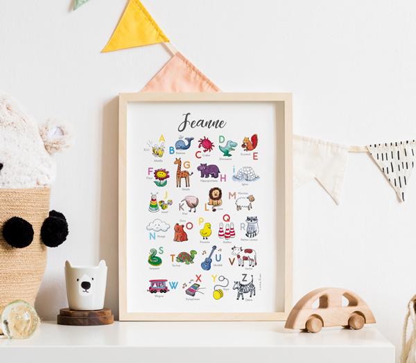 Affiche cadeau de naissance abecedaire personnalise avec prenom bebe