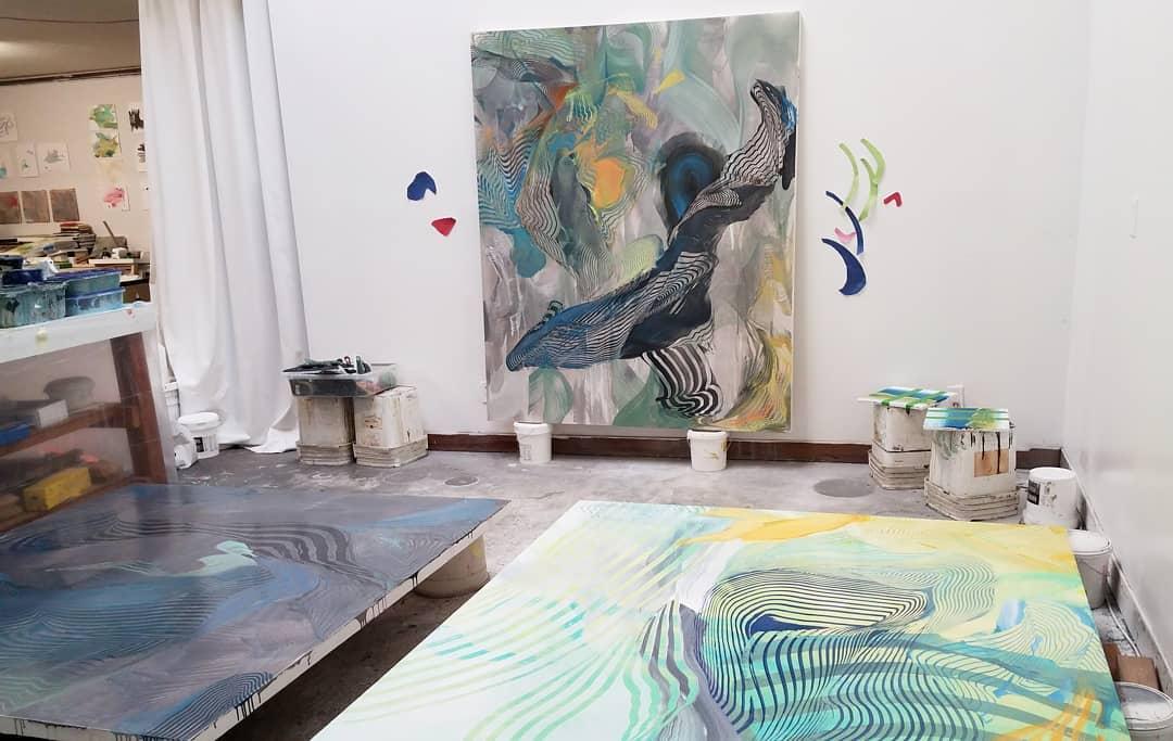 Studio Saturday  workinprogress figuringitout wetpaint acrylicpainting Oakland wip studiosaturdayhellip