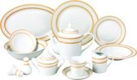 57 Piece Gold Matte Floral Border Porcelain Dinnerware set ...