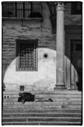 Persona sdraiata sulle scale con ombra circolare - streetphotography