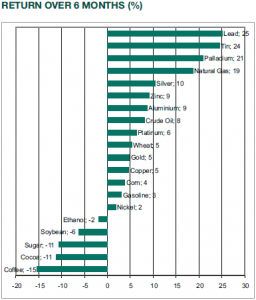 Return over 6 months commodities by UBP