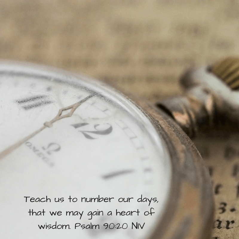 Teach us to number our days, that we may gain a heart of wisdom. Psalm 90:20 NIV