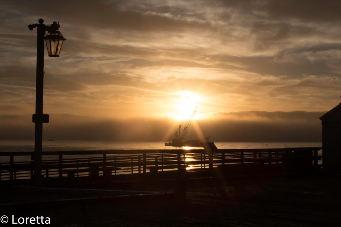 A foggy sunrise at the Wharf in Santa Barbara
