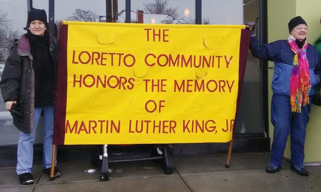 A Fitting Tribute — Loretto Community members and friends in Denver honor the memory of Dr. Martin Luther King Jr. by joining in the 2017 MLK Marade. Above are, from left, Lisa Reynolds and Anna Koop, and below is a crowd shot. (Photos courtesy of Lisa Reynolds)